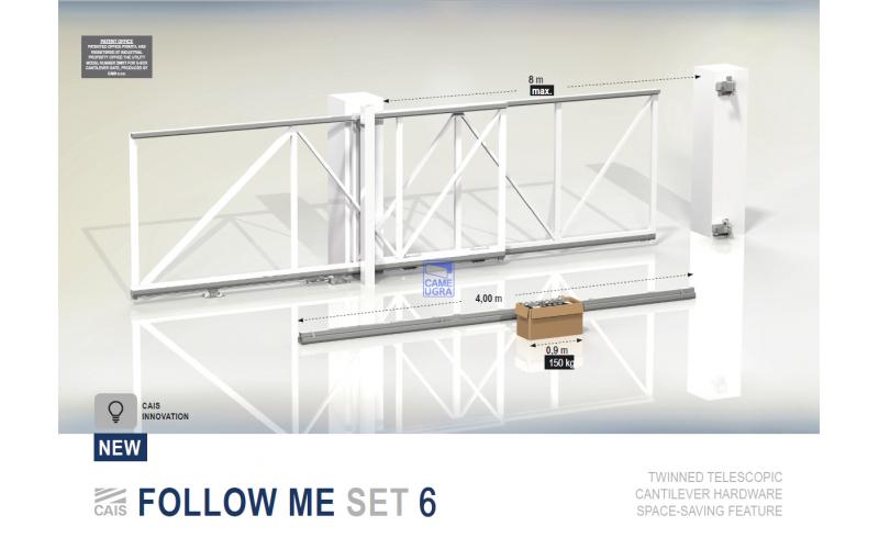 Комплект для телескопических откатных ворот (2 секции) с шириной проезда до 8 метров