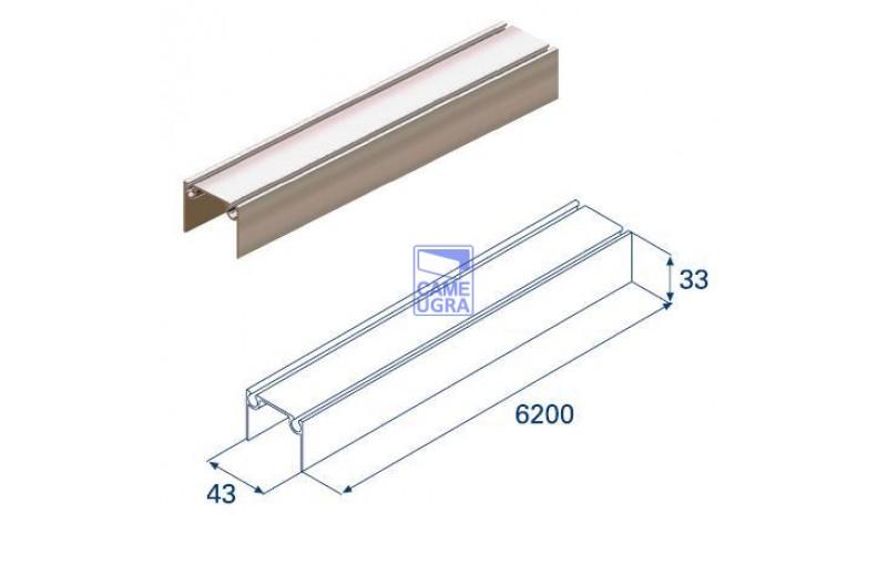 Алюминиевый верхний и нижний профиль L=6200 металлик
