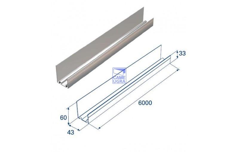 Алюминиевый нижний профиль для панелей с защ. от защемления L=62